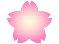 桜の輪郭のピンク色メモ帳フレーム飾り枠イラスト
