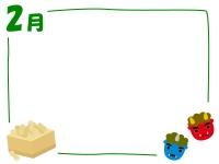 2月・赤鬼青鬼の節分フレーム飾り枠イラスト