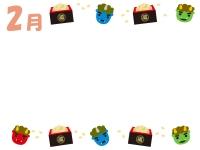 2月・赤鬼青鬼と豆まきの節分フレーム飾り枠イラスト