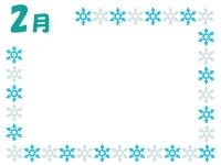 2月・雪の結晶の囲み枠のフレームイラスト