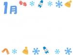 1月・雪の結晶と冬の小物の囲みフレーム飾り枠イラスト