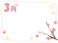 3月・桃の花のふんわりフレーム飾り枠イラスト