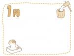1月・餅つきとお餅のフレーム飾り枠イラスト