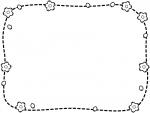 桜と点線の白黒フレーム飾り枠イラスト