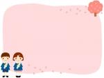 卒園・園児と桜のピンク色のフレーム飾り枠イラスト