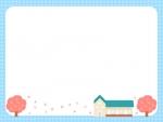 桜と学校・園舎の水色チェック模様フレーム飾り枠イラスト