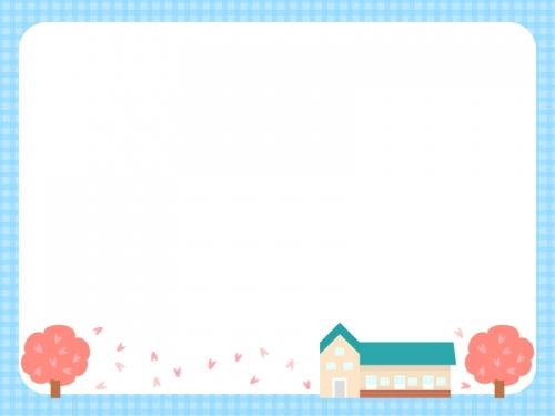 桜と学校・園舎の水色チェック模様フレーム飾り枠イラスト 無料のフリー素材集
