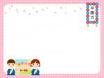 卒園・園児とアルバムと桜のチェック模様フレーム飾り枠イラスト