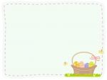 かご盛りイースターエッグの点線フレーム飾り枠イラスト