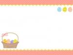 かご盛りイースターエッグの水玉上下フレーム飾り枠イラスト