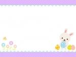 イースターエッグとウサギの水玉上下フレーム飾り枠イラスト