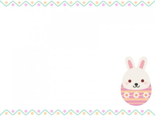 イースターエッグウサギのフレーム飾り枠イラスト