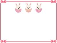 イースターエッグウサギ達のピンク色フレーム飾り枠イラスト