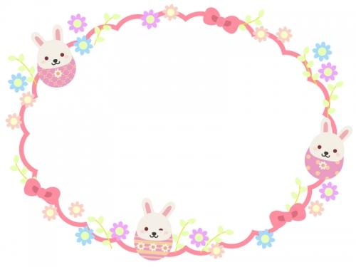 イースターエッグウサギ達とお花のもこもこフレーム飾り枠イラスト