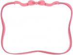 ピンク色のリボンのフレーム飾り枠イラスト