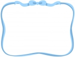 水色のリボンのフレーム飾り枠イラスト