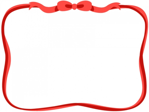 赤色のリボンのフレーム飾り枠イラスト 無料イラスト かわいいフリー