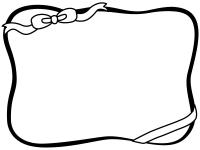 リボンの白黒フレーム飾り枠イラスト