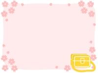 桜と通園バッグのフレーム飾り枠イラスト