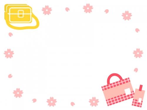 通園バッグと手提げ袋の桜囲みフレーム飾り枠イラスト