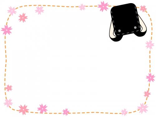 黒いランドセルと桜の点線フレーム飾り枠イラスト