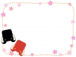 赤と黒のランドセルと桜の点線フレーム飾り枠イラスト
