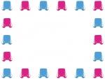 ピンクと水色のランドセルの囲みフレーム飾り枠イラスト