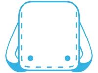 ランドセルの水色線フレーム飾り枠イラスト