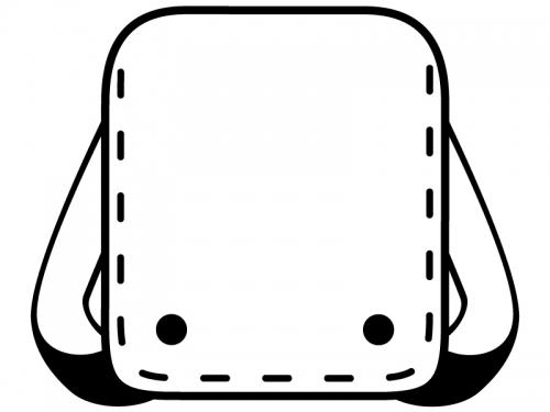 ランドセルの白黒線フレーム飾り枠イラスト