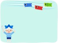 鯉のぼりと紙兜をかぶった子供の水色フレーム飾り枠イラスト