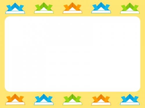 カラフルな紙兜の上下黄色フレーム飾り枠イラスト