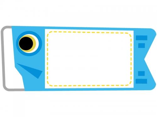 水色の鯉のぼりのフレーム飾り枠イラスト