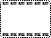 上下に並んだ鯉のぼりの白黒点線囲みフレーム飾り枠イラスト