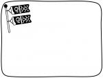 鯉のぼりの白黒手書き風囲みフレーム飾り枠イラスト