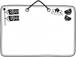 鯉のぼりと柏餅と紙兜の白黒フレーム飾り枠イラスト