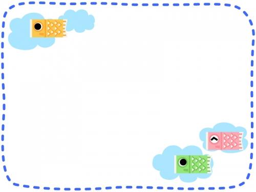 鯉のぼりと雲の青色点線フレーム飾り枠イラスト