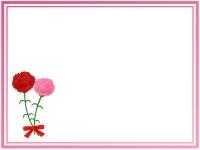 赤とピンクのカーネーションの二重線フレーム飾り枠イラスト
