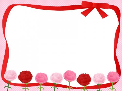 カーネーションと赤いリボンの囲みフレーム飾り枠イラスト