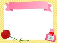 カーネーションとプレゼントの見出し付きフレーム飾り枠イラスト