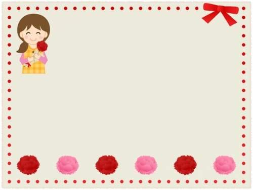 赤いリボンとカーネーションとお母さんの紙風フレーム飾り枠イラスト