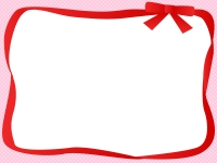 赤いリボンの囲みドットフレーム飾り枠イラスト