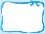 水色のリボンの囲みドットフレーム飾り枠イラスト