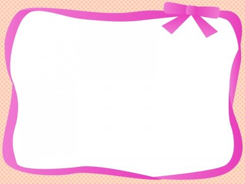 ピンク色のリボンの囲みドットフレーム飾り枠イラスト