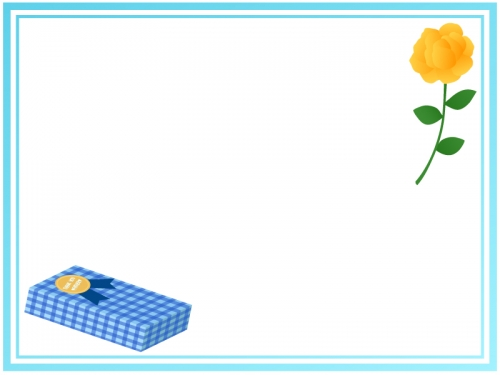 父の日・黄色いバラとプレゼントの二重線フレーム飾り枠イラスト