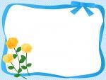 黄色いバラと水色のリボンの囲みフレーム飾り枠イラスト