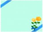 青いリボンと黄色いバラの花束の水色フレーム飾り枠イラスト