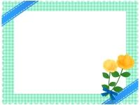 青いリボンと黄色いバラの花束のチェック柄フレーム飾り枠イラスト