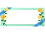 青いリボンと黄色いバラのチェック柄横長フレーム飾り枠イラスト
