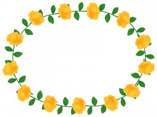 黄色いバラのリースのフレーム飾り枠イラスト