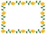 黄色いバラの囲みフレーム飾り枠イラスト